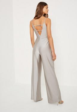 Silver Tall Exclusive Metallic Lattice Back Jumpsuit