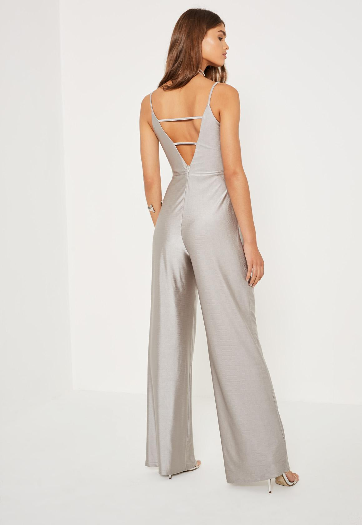 Silver Tall Exclusive Metallic Lattice Back Jumpsuit - Missguided