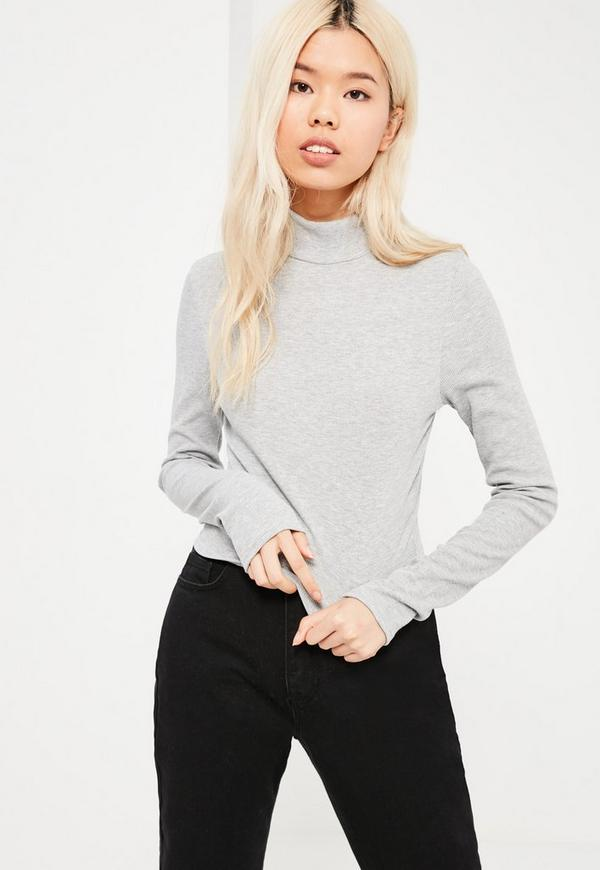Tall Grey Long Sleeve Turtle Neck Top