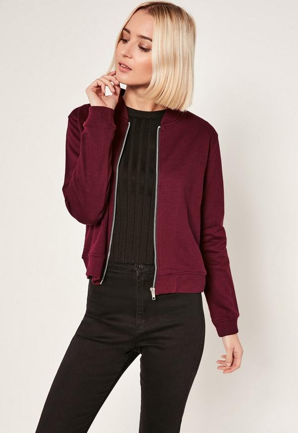 Tall Burgundy Loop Back Jersey Bomber Jacket