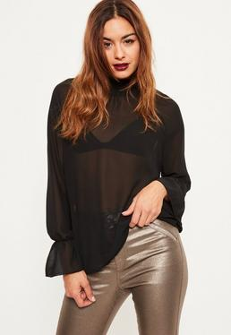 Tall Exclusive Black Sheer Elasticated High Neck Blouse
