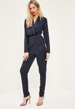 Tall Exclusive Navy Wrap Front Jumpsuit