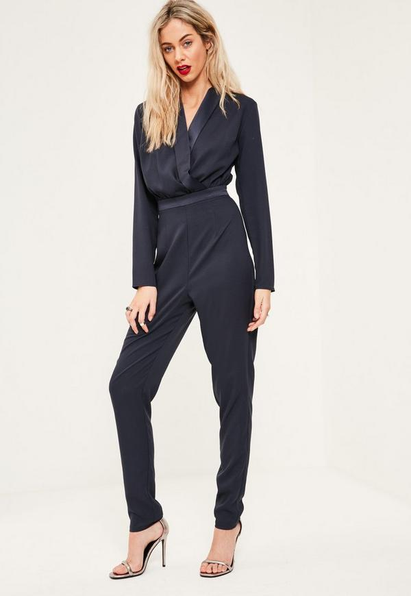 Tall Navy Wrap Front Jumpsuit