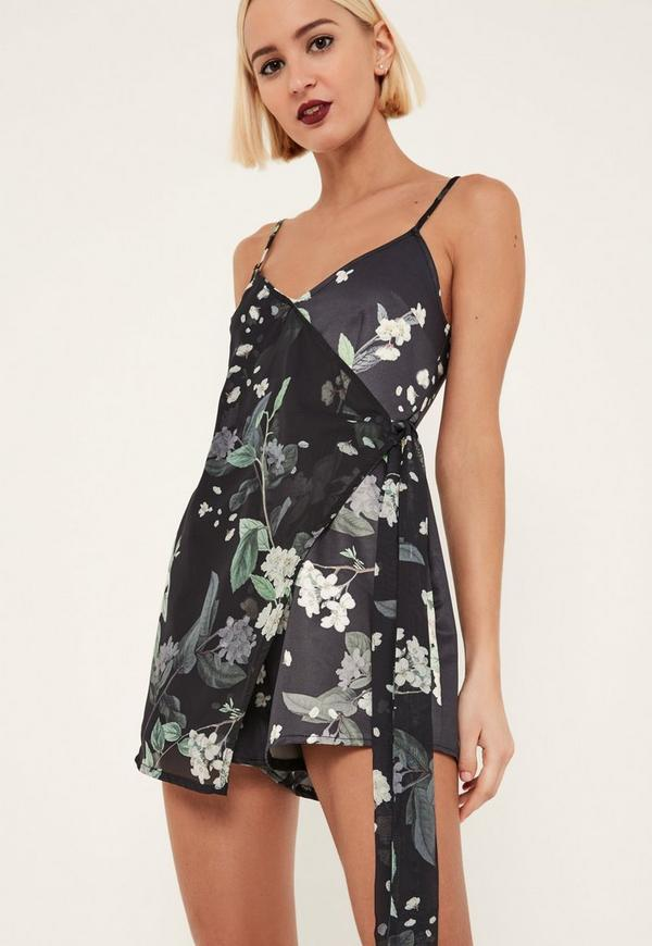 Tall Black Floral Print Wrap Playsuit