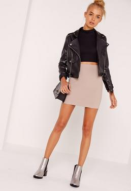Tall Nude Scuba Mini Skirt