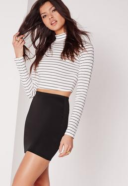 Tall BlackScuba Mini Skirt