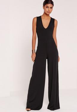 Combinaison noire effet côtelé col en V pantalon large exclusive tall