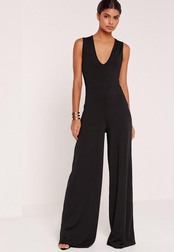 Tall Exclusive Ribbed V Neck Wide Leg Jumpsuit Black - Missguided