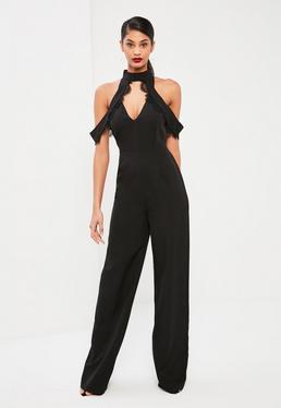 Tall Exclusive Black Lace Trim Cold Shoulder Jumpsuit