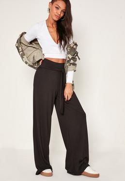 Pantalon large noir côtelé exclusivité Tall