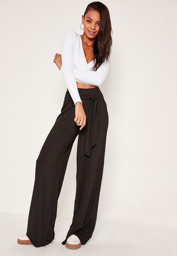 Black Tall Exclusive Ribbed Tie Waist Wide Leg Pants | Missguided