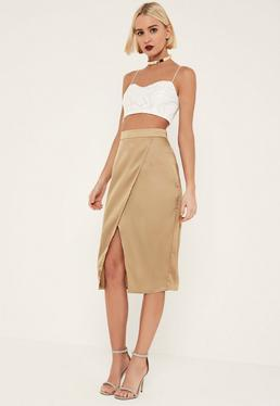 Tall Nude Satin Wrap Midi Skirt