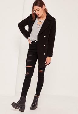 Tall Black Short Faux Wool Military Coat