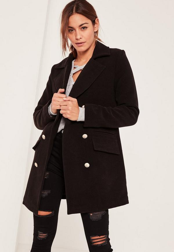 Manteau style officier noir