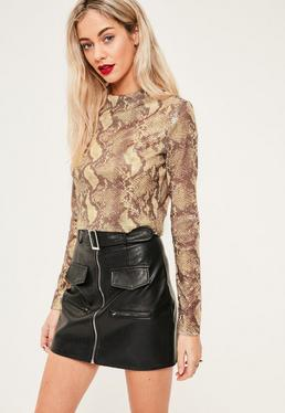 Tall Exclusive Nude Snake Print Crop Top