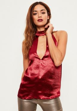 Tall Burgundy Choker Neck Satin Top