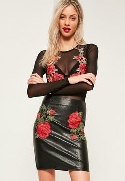 Tall Exclusive Black Faux Leather Floral Applique Mini Skirt