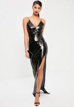 Tall Exclusive Black Sequin Thigh Split Maxi Dress