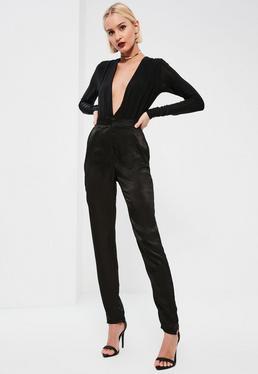 Tall Exclusive Black Satin Cigarette Trousers