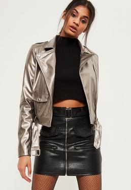 Tall Exclusive Silver Metallic Faux Leather Biker Jacket