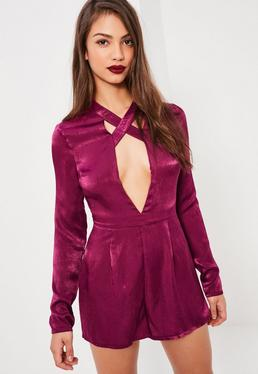 Tall Exclusive Pink Cross Strap Satin Romper