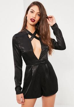 Tall Exclusive Black Cross Strap Satin Romper
