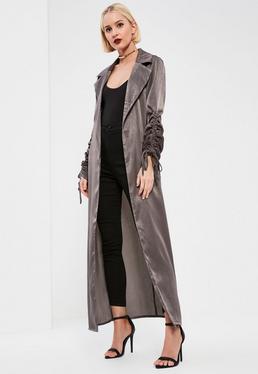 Tall Exclusive Grey Ruched Sleeve Satin Duster Coat