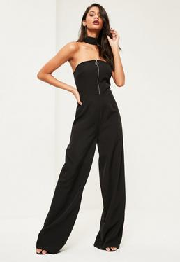 Tall Exclusive Black Choker Neck Jumpsuit