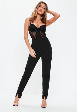 Czarne dopasowane spodnie cygaretki dla wysokich kobiet