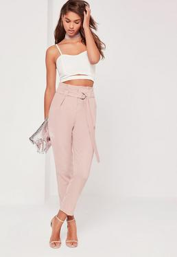 Pantalon cigarette rose taille froncée Tall