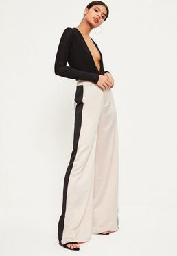 Tall Premium Nude Satin Stripe Wide Leg Trousers