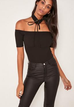 Tall black Lace Up choker bardot bodysuit