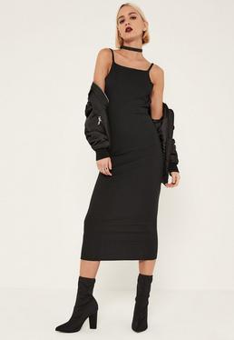 Tall Black Ribbed Open Back Bodycon Midi Dress