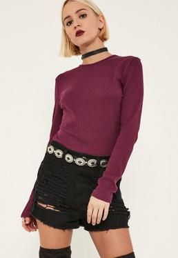 Tall Purple Ribbed Crew Neck Top