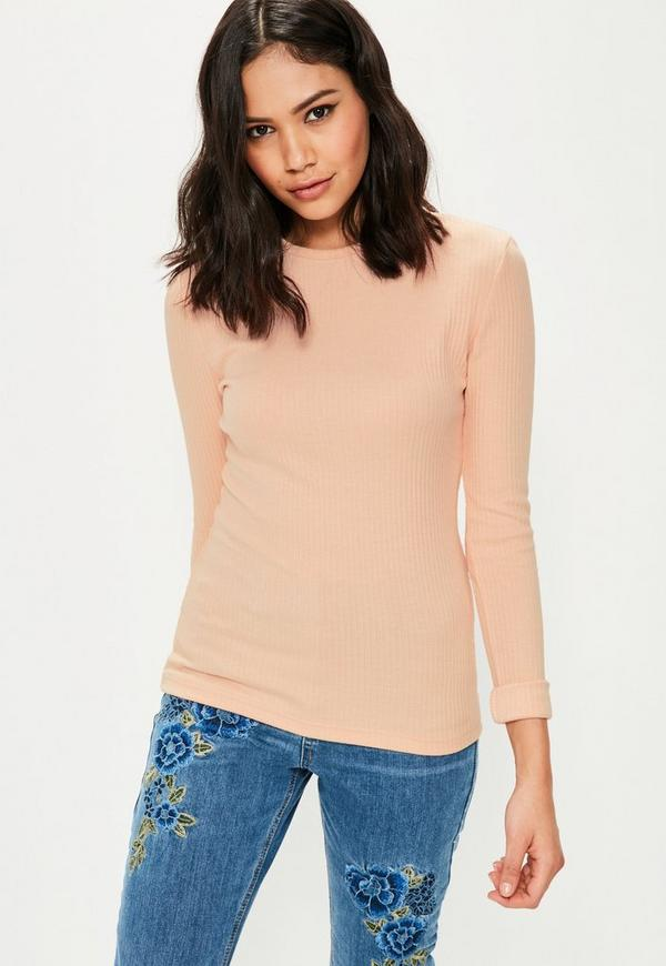 Tall Nude Crew Neck Ribbed Top
