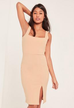 Tall Nude Square Neck Side Split Mini Dress