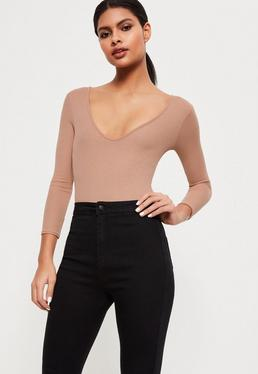 Tall Nude V-Neck Ribbed Long Sleeve Bodysuit
