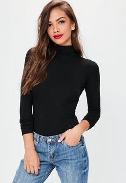 Tall Black Long Sleeve Turtle Neck Bodysuit