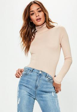 Tall Nude Turtleneck Long Sleeve Bodysuit