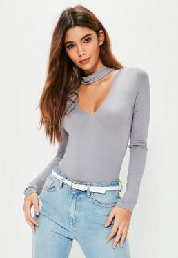 Tall Grey Choker Neck Plunge Bodysuit