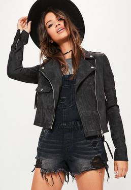 Tall Black Faux Suede Biker Jacket