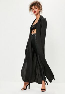 Tall Black Hammered Satin Duster Jacket