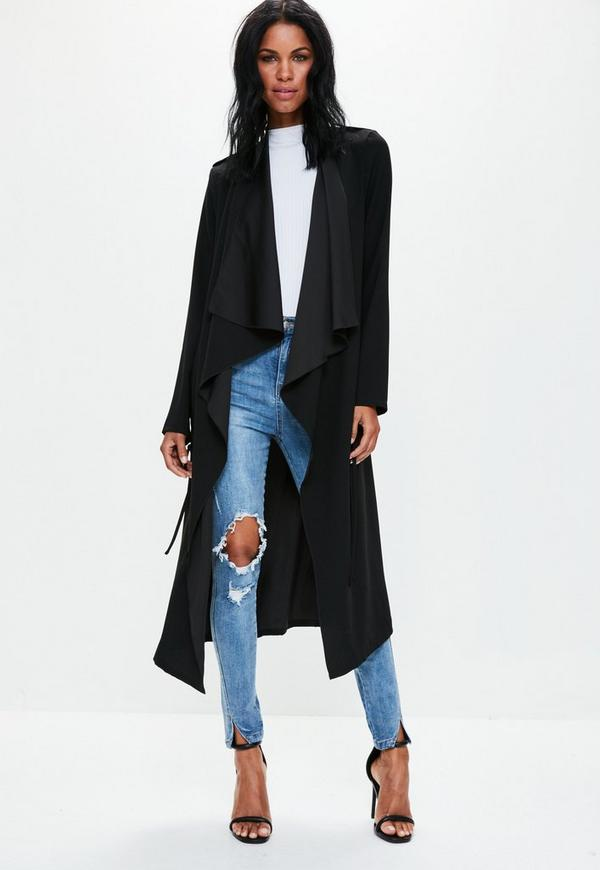 Tall Black Waterfall Long Jacket | Missguided Ireland