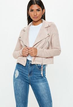 Beżowa zamszowa kurtka ramoneska exclusive dla wysokich kobiet