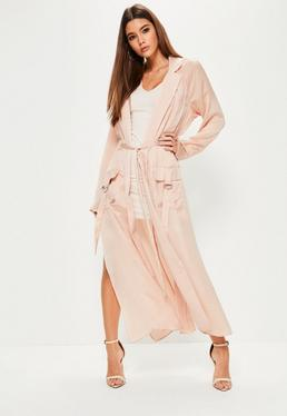 Tall Exclusive Nude Hammered Satin Duster Jacket