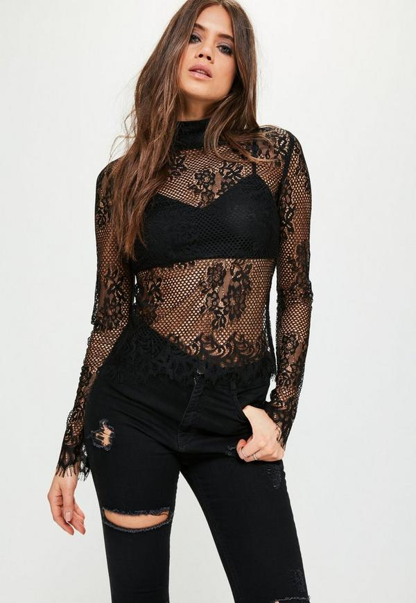 Tall Exclusive Black Lace High Neck Top