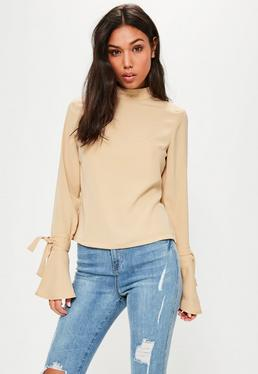 Tall Exclusive Beige Flare Cuff Blouse
