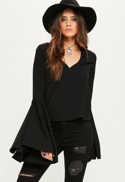 Czarna bluzka z szerokimi rękawami exclusive dla wysokich kobiet