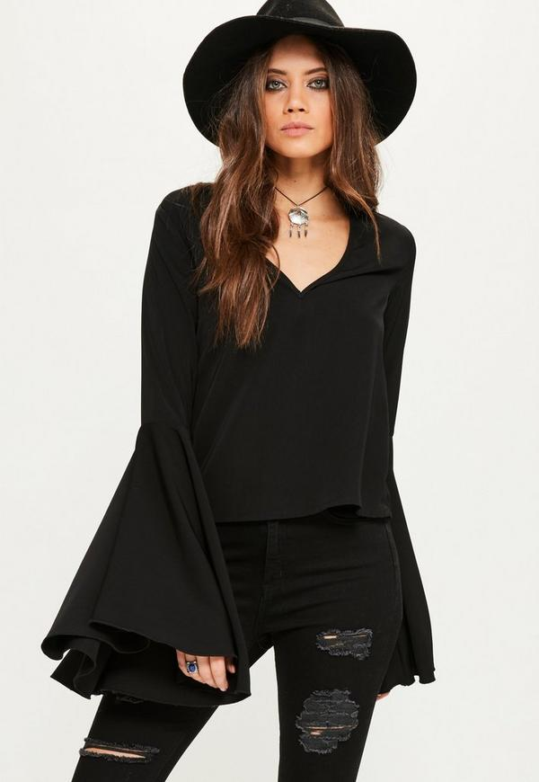 Tall Black Extreme Flare Sleeve Blouse
