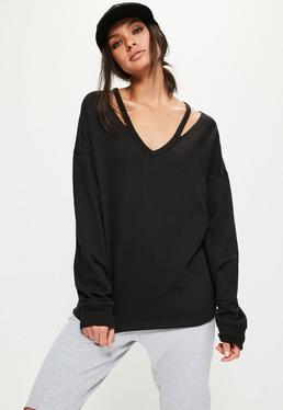 Tall Exclusive Black Cut Out Neck Sweatshirt